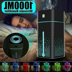 1000ML Ultrasonic Air Humidifier USB LED Purifier Aroma Esse