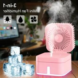 3 in 1 Mini USB Fan Cooler Humidifier Nightlight Portable Fa