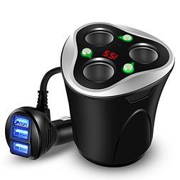 Skyocean 3 Socket Cigarette Lighter Splitter + 3 USB Car Cha