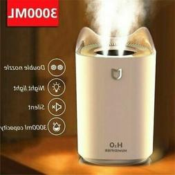 3000ML Home Air Humidifier Double Nozzle Cool Mist Aroma Dif