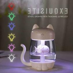 Cat Air Humidifier Cool Mist LED Light Cute For Bedroom Baby