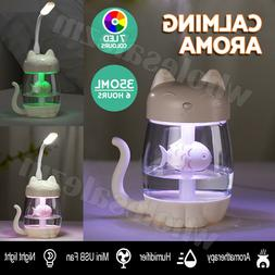 Cat Humidifier LED Night Light 350ml USB Portable Air Diffus