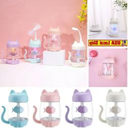 Home Humidifier Cute Cat Mini LED Office Air Fan  Diffuser P
