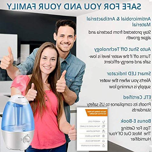 3L Humidifier Humidifiers Room/Baby with Night Whole Solution Large - Off and Filter-Free YEAR WARRANTY