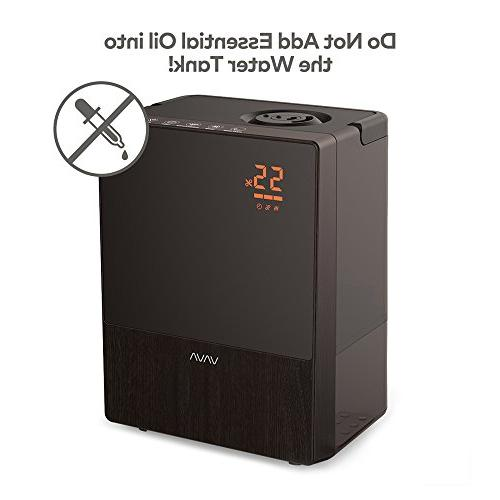 VAVA and Cool Mist with Remote and Humidity Monitor, 3 Mist Levels, Sleep for Bedroom Waterless Shut-Off