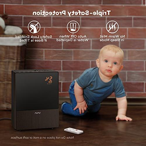 VAVA Cool Mist with and Monitor, Sleep for and Babies, 360° Waterless Shut-Off