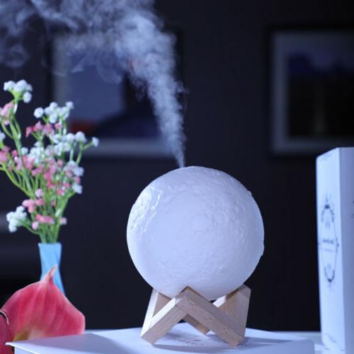 New USB Oil Purifier Air Humidifier Aroma Essential 3D Moon