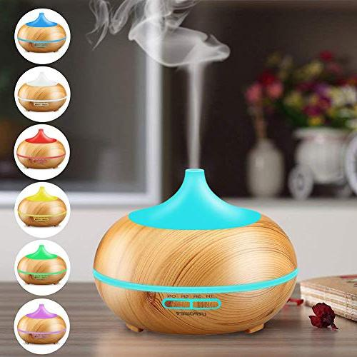 URPOWER Oil Diffuser 300mlWood Ultrasonic Cool Mist Whisper-Quiet with Color Changing 4 Settings, Waterless Auto Shut-Off for Baby Home