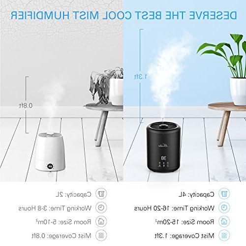 Humidifiers, MOOKA Ultrasonic Mist Humidifier With 4 Liter Large Quiet, Shut-off, Sleep for Home Office Babies