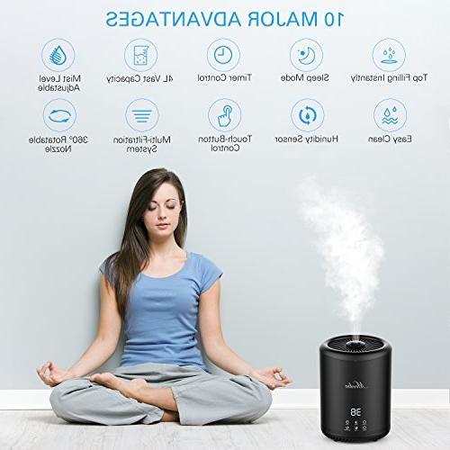 Humidifiers, MOOKA Ultrasonic Mist Liter Ultra Quiet, Waterless Auto Shut-off, Sleep for Home Office Living Room Babies