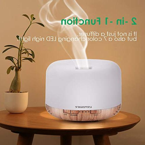 URPOWER 500ml Oil Humidifier Decor Lighting with 4 Timer Color Waterless Shut-Off