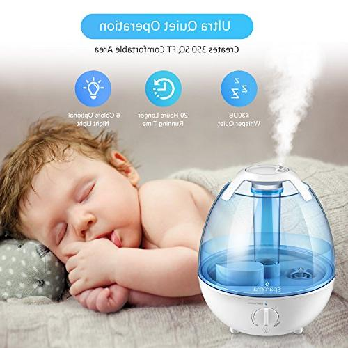 Cool Ultrasonic Mist Humidifiers with High Mist Output, Mist Levels, Free