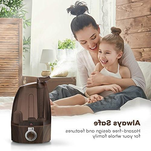 TaoTronics TT-AH002 Cool Humidifier for Bedroom 360°Rotatable Dial Knob Control-Coffee