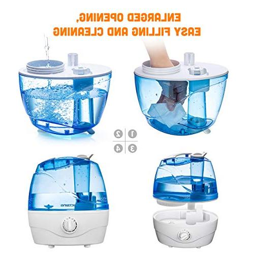 VicTsing Ultrasonic Humidifiers for Bedroom Baby, Humidifying with Whisper-Quiet Operation, Auto Shut-Off, 12-24 Hours