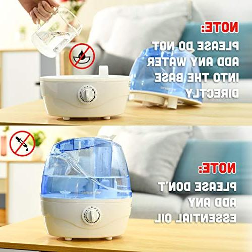 VicTsing Cool Mist Humidifier, Ultrasonic for Baby, Premium with Operation, Shut-Off, Anti-Slip 12-24