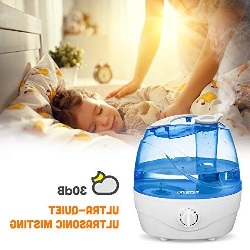 VicTsing Humidifier, Ultrasonic Baby, Premium with Whisper-Quiet Shut-Off, Anti-Slip Hours Working Time