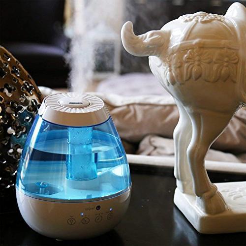 Tekjoy Cool Mist Premium Humidifiers 7 Night Quiet, Auto Shut-Off, 360° Nozzle, Timer, Filterless Lasts Hours