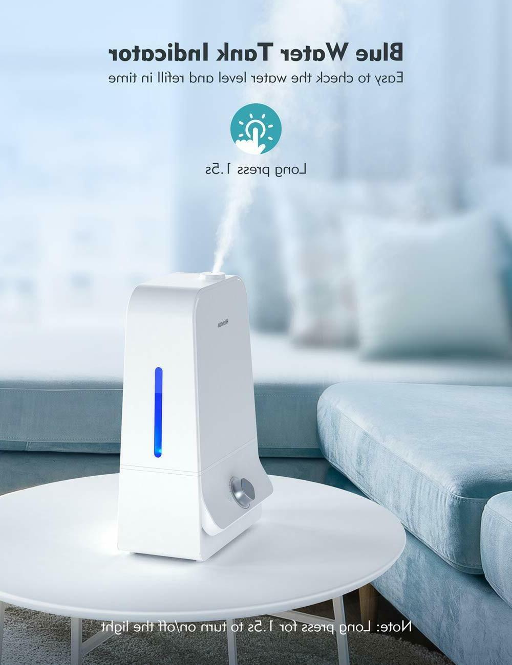 Homech Cool Mist Humidifier, Quiet Ultrasonic Bedroom,