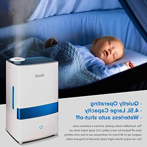LEVOIT Cool Humidifiers, 4.5L Ultrasonic Bedroom and Babies, Vaporizer for Whisper-Quiet, Auto up 2-Year Warranty