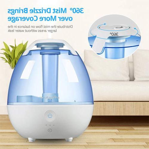 Anypro Mist Humidifier for with 360° Automatic Night Light Optional Settings