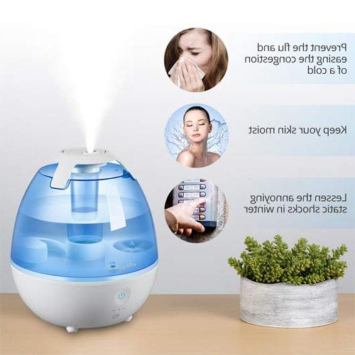 Anypro Cool Mist Humidifier 360° Automatic Light 3-Timing Settings