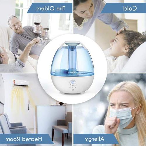 Anypro Humidifier 360° Nozzle, Whisper-Quiet Automatic Light Function, Optional Settings