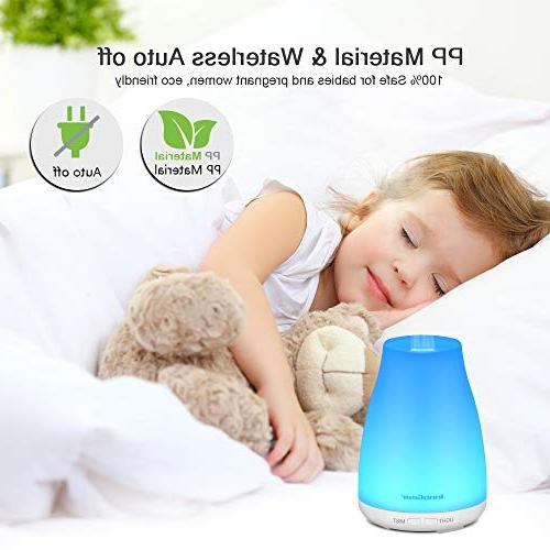 Essential Aroma Diffusers Ultrasonic Mist with 7 Colors LED Waterless Auto Shut-off Home Office Room