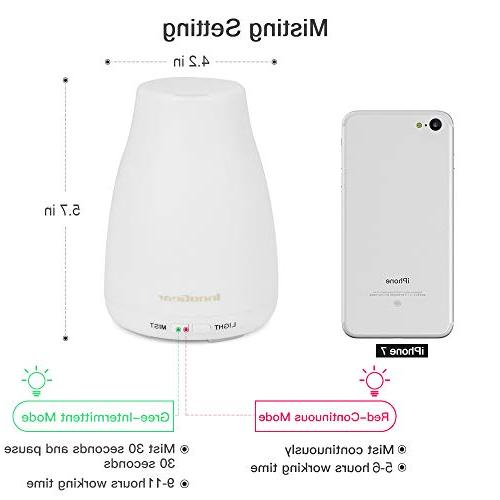 InnoGear Pack 150ml Essential Diffuser Aromatherapy Aroma Mist Humidifier Colors LED and Waterless Shut-off Home Bedroom Room