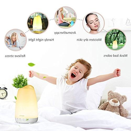 VicTsing Version Essential Oil Diffuser Noise Reduction Design, Ultrasonic Diffusers Cool Mist with Sleep Mode, Auto-Off & Light for Bedroom