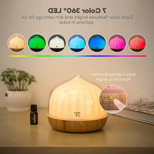 500mL Diffusers Oils, TaoTronics with Remote Up to 20 ft, Base, Cool Mist Humidifier for Kids, Mode, 14 Colors & Waterless
