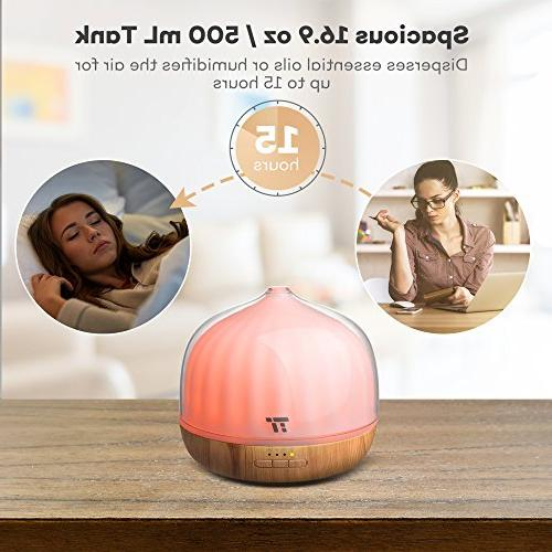 500mL Diffusers Essential Oils, TaoTronics Remote 20 ft, Grain Base, Cool Humidifier for Dual Mist Mode, & Waterless Shut-Off