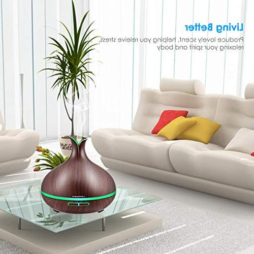 Diffuser Grain with Auto Shut-Off, 7 Color Light Aromatherapy Diffuser Humidifier Timer Settings Humidifiers for Bedroom