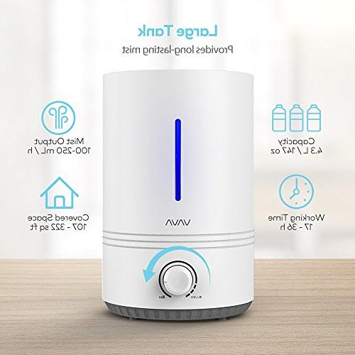 VAVA Fill Humidifiers, 4.3L Cool Mist Humidifier for Nursery , 17-36 Hours, Whisper-Quiet, Shut Off, Light,