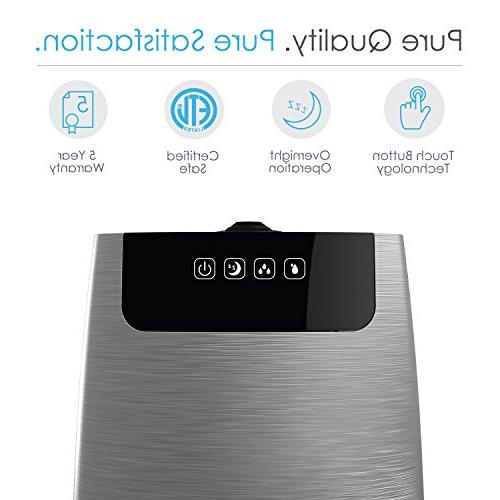 Pure Enrichment HumeXL Ultrasonic Large, Water Touch-Button High/Low Mist, 360° Mist Nozzles Night Mode