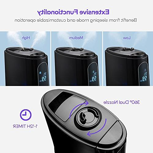 VAVA Humidifiers Room Cool Space-Saving with Tank, Hours Time, Humidity Preset Function, Light,