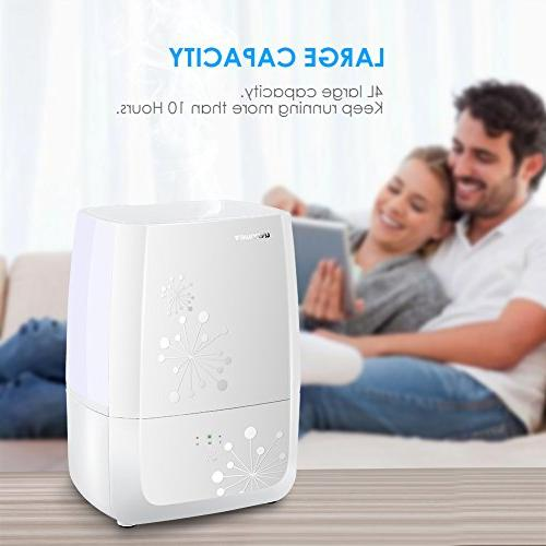 URPOWER Updated Cool Mist Humidifier Sleep Whisper-Quiet Ultrasonic -Waterless Shut-Off with 3 Mist Level Humidifiers