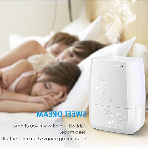 URPOWER Cool Mist Sleep Mode, Ultrasonic Humidifier -Waterless Shut-Off with Mist Level Babyroom
