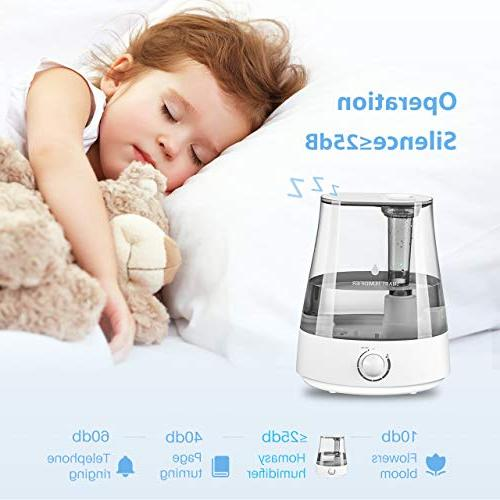Homasy Humidifiers 5L Ultrasonic Mist Baby, Powerful Unit with Whisper-Quiet Shut-Off Hours Working
