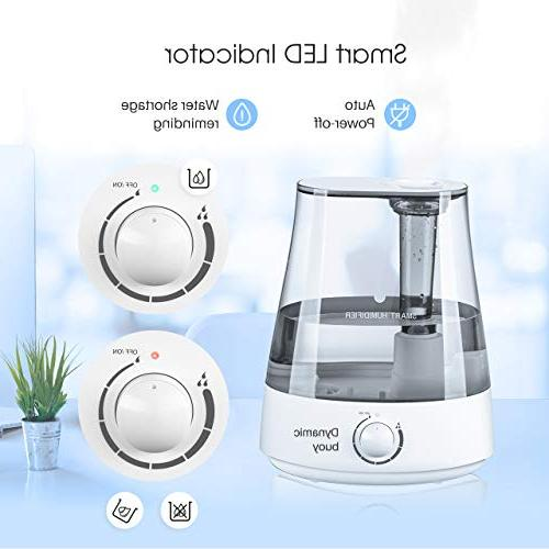 Homasy Ultrasonic Cool Mist Humidifier Baby, Powerful Vaporizer Unit with Shut-Off and 40 Hours Working