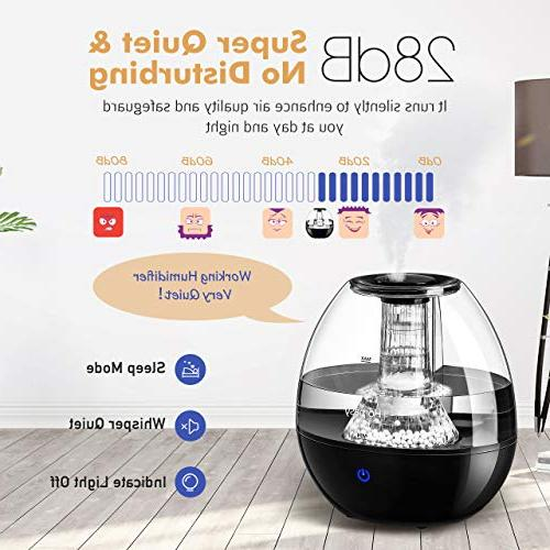 Homasy Humidifiers with Stone, Ultrasonic Cool Mist Humidifier Baby Vaporizer Whisper-Quiet Operation & Auto Shut-Off