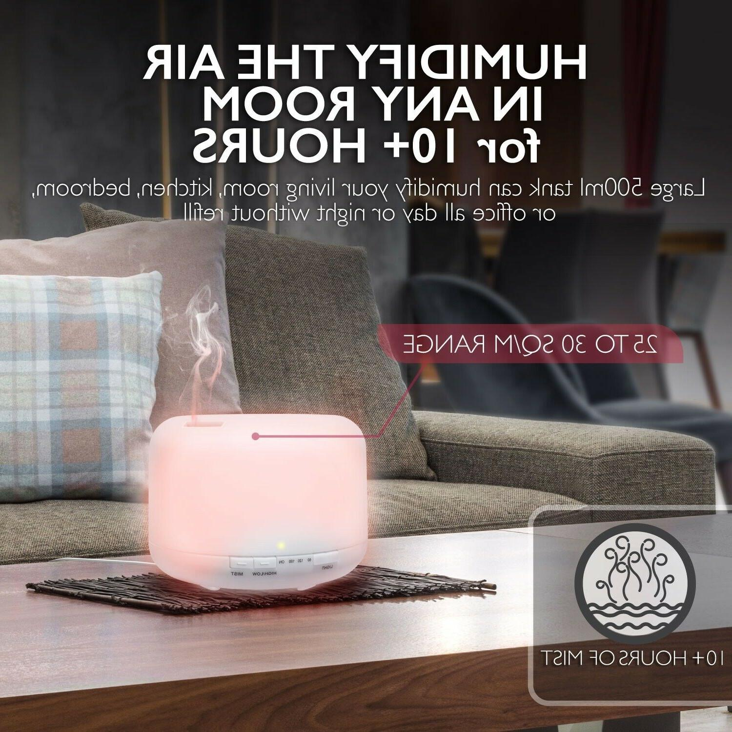 500ml LED Aromatherapy Oil Diffuser Humidifier