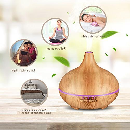 VicTsing 150ml Diffuser , Wood Grain Cool Humidifier Auto-Off for Spa Study or Baby Room