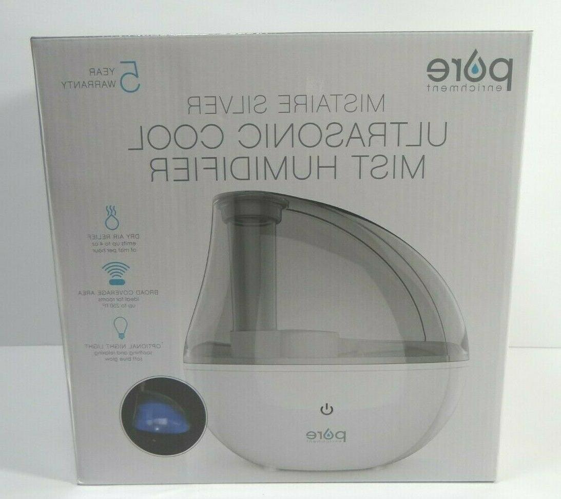 mistaire silver ultrasonic cool mist humidifier 250