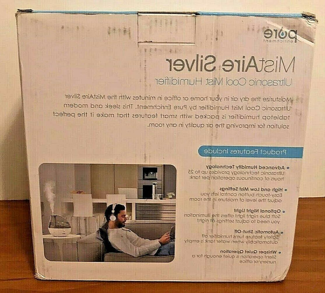 NEW!! Enrichment MistAire Silver Ultrasonic Cool Humidifier