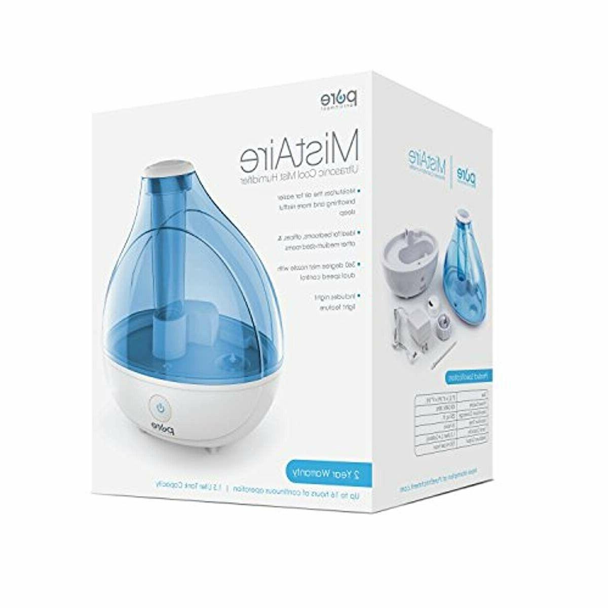 Pure MistAire Ultrasonic Cool Mist Humidifier - Premium Humidifying