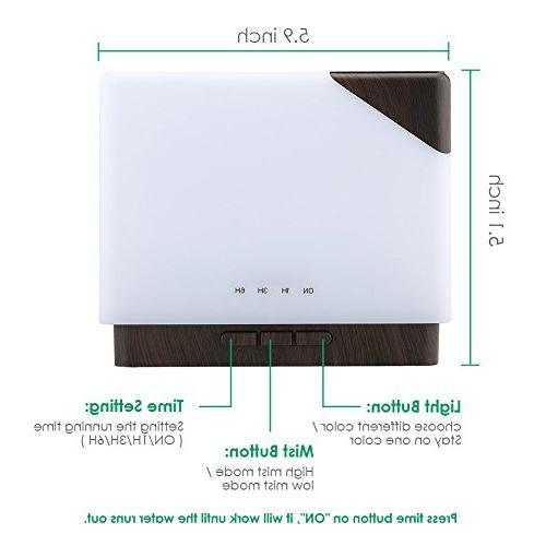 URPOWER 700ml Square Essential Oil Diffuser Humidifier Large Capacity Ultrasonic Aroma Diffusers Hours 7 for Office Spa