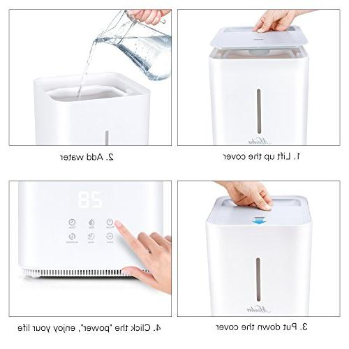 Mooka Ultrasonic Humidifier - 4L Capacity, Fill Humidity Operation with Adjustable Mist Mode for Bedroom, room, -