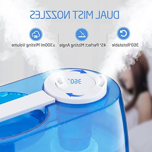 VicTsing Cool Mist Humidifier, Include Humidity & Timer, 360 Mist Whisper-Quiet Operation & LCD Screen - Bedroom Baby