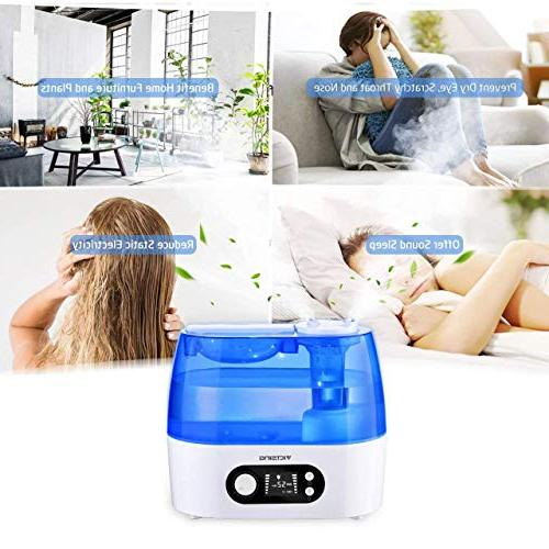 VicTsing Ultrasonic Humidifier, Include Humidity & Mist Whisper-Quiet Operation & LCD