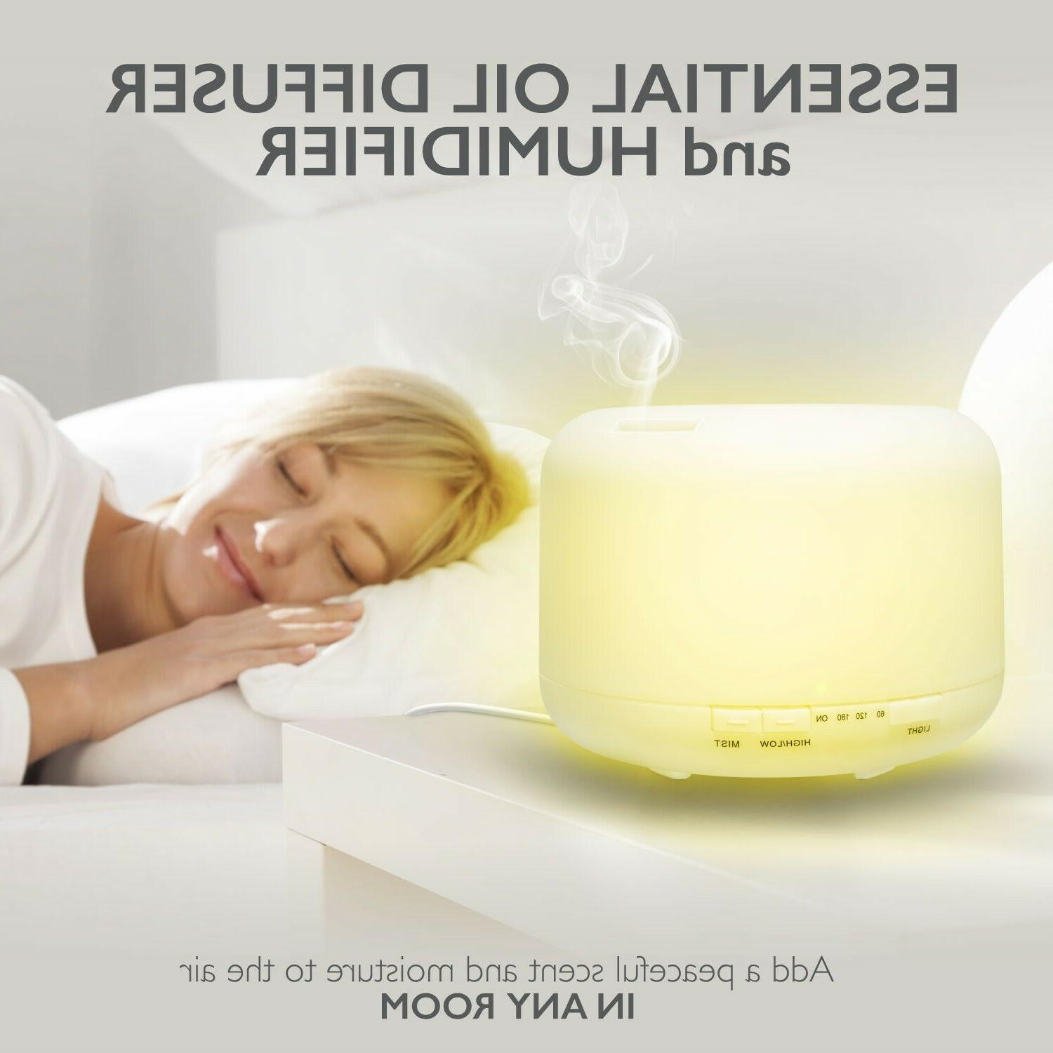 500ml LED Light Aromatherapy Mist Essential Diffuser